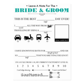 Wedding Guest Advice Card Postcard