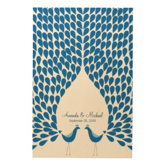 Wedding guest book alternative peacocks feathers wood print