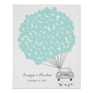 Wedding Guest Book Alternative with sign balloons Poster