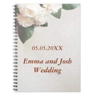 wedding guest book elegant soft white roses