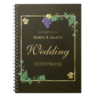 Wedding Guest Book - Grape Vines with Gold Frame