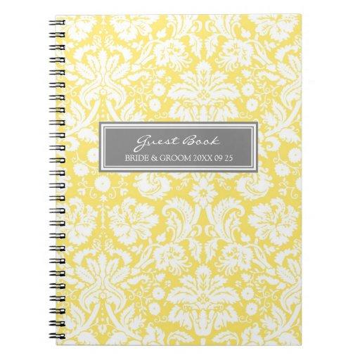 Wedding Guest Book Lemon Gray Damask Notebook