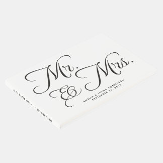 Wedding Guest Book, Mr. & Mrs, black and white