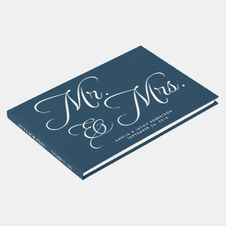 Wedding Guest Book, Mr. & Mrs, navy and white