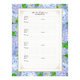 Wedding Guest Book Page Blue Hydrangea Lace Floral 21.5 Cm X 28 Cm Flyer