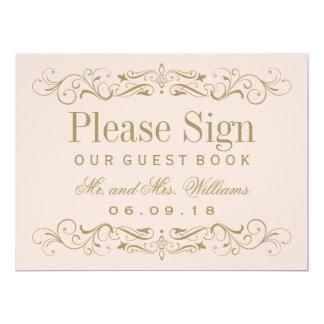 Wedding Guest Book Sign | Antique Gold Flourish 17 Cm X 22 Cm Invitation Card