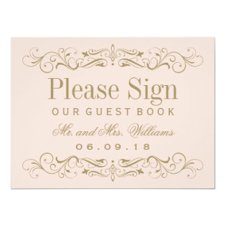 Wedding Guest Book Sign   Antique Gold Flourish Card