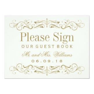 Wedding Guest Book Sign   Antique Gold Flourish 17 Cm X 22 Cm Invitation Card