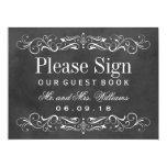 Wedding Guest Book Sign | Chalkboard Flourish 17 Cm X 22 Cm Invitation Card