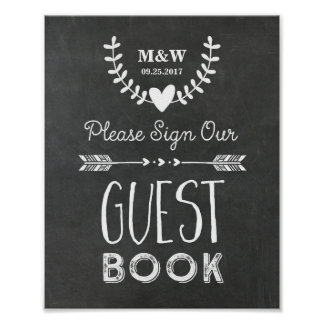 Wedding Guest Book Sign Chalkboard Hearts Arrows Poster