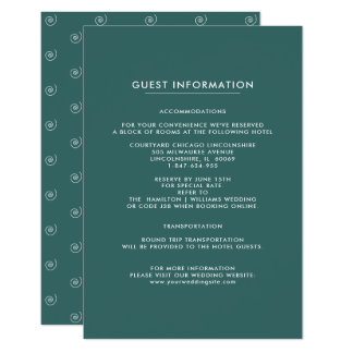 Wedding Guest Information Cards | Teal Pattern