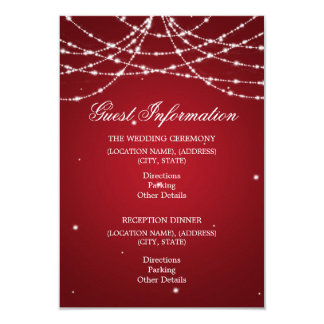 Wedding Guest Information Sparkling String Red Card