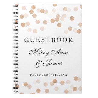 Wedding Guestbook Faux Copper Foil Glitter Lights Spiral Note Book