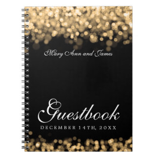 Wedding Guestbook Gold Lights Notebooks