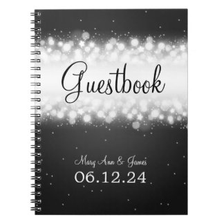 Wedding Guestbook  Magic Sparkle Black Notebook