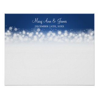 Wedding Guestbook  Magic Sparkle Blue Poster