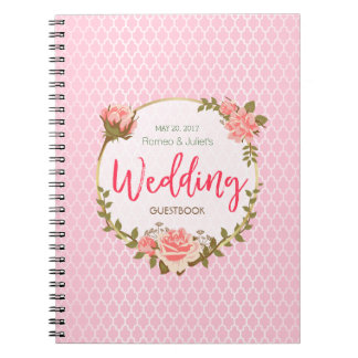 Wedding Guestbook - Pink Rose with Gold Circle Spiral Notebook