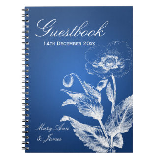 Wedding Guestbook Poppy Blue Note Books