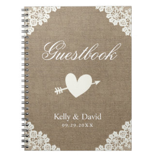 Wedding Guestbook | Rustic Burlap White Lace Notebooks