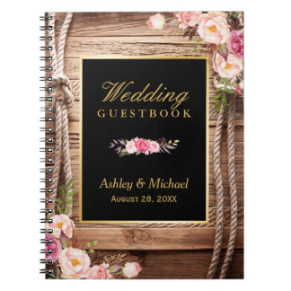 Wedding Guestbook - Rustic Wood Knot Floral Notebook