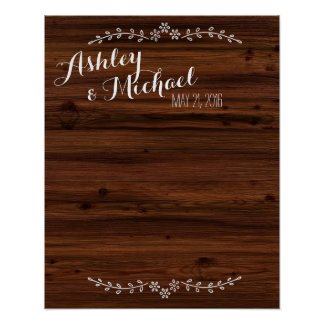 Wedding guestbook sign add bride groom's name date poster