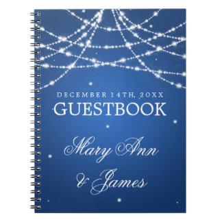 Wedding Guestbook Sparkling String Blue Notebooks