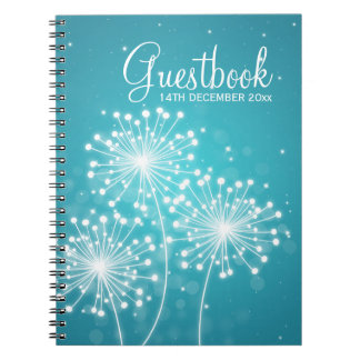 Wedding Guestbook Summer Sparkle Turquoise Notebooks