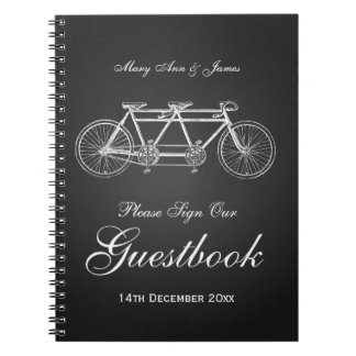 Wedding Guestbook Tandem Bike Black Spiral Notebook