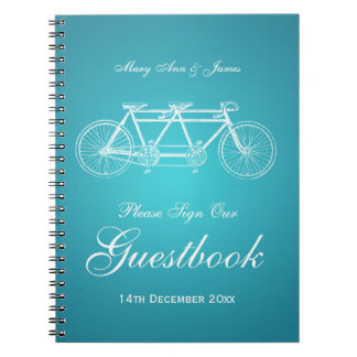 Wedding Guestbook Tandem Bike Turquoise Notebook