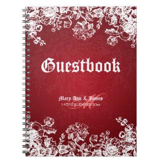 Wedding Guestbook Victorian Flourish Red Spiral Notebook