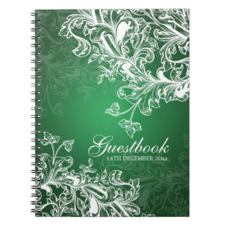 Wedding Guestbook Vintage Swirls Green Spiral Notebook