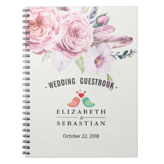 Wedding Guestbook Watercolor Boho Floral Feather Notebook