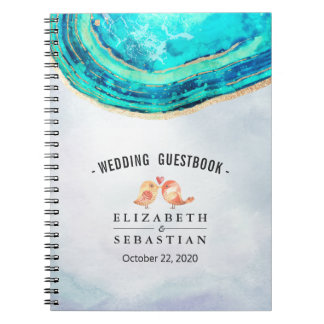 Wedding Guestbook Watercolor Teal Gold Agate Geode Notebook