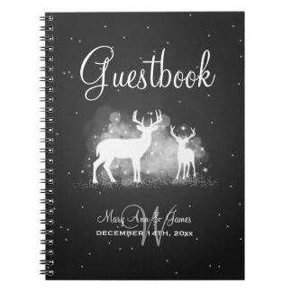 Wedding Guestbook Winter Deer Sparkle Black Spiral Notebook