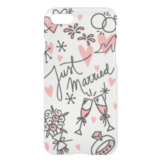 Wedding Hand Lettered Just Married iPhone 7 Clear iPhone 7 Case