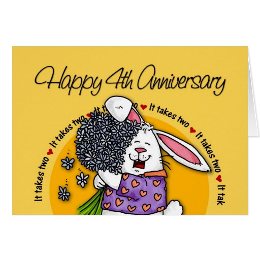 Wedding - Happy 4th Anniversary Cards