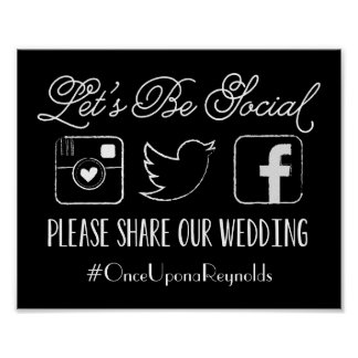 Wedding Hashtag Sign (Choose your color)