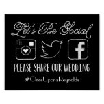 Wedding Hashtag Sign (Choose your colour)