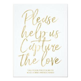 Wedding Hashtag Sign   Stylish Gold Hand Lettered Card