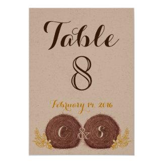 Wedding Hay Bales TABLE NUMBER CARD