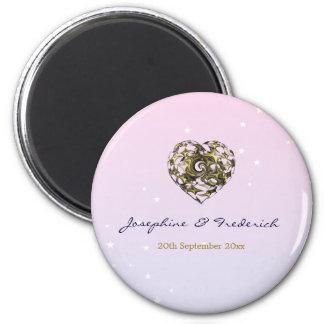 Wedding Heart 6 Cm Round Magnet