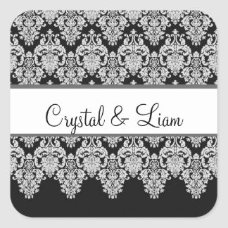 Wedding Heart Damask Black and White Envelope Square Sticker