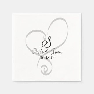 Wedding Heart Monogram Date Names Bride Groom Paper Serviettes
