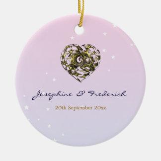 Wedding Heart Round Ceramic Decoration