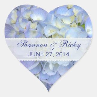 Wedding Heart Sticker in Light Blue Hydrangeas