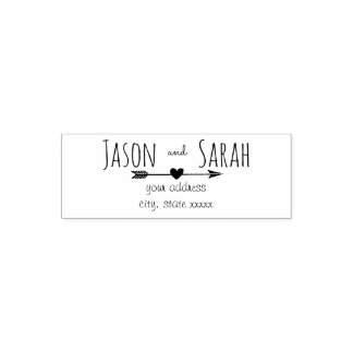 wedding heart with arrow bride and groom self-inking stamp