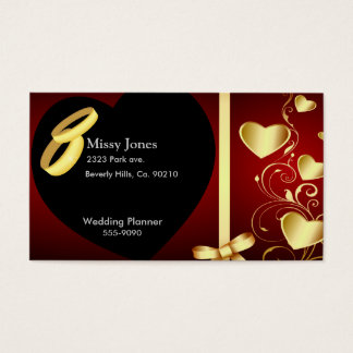 Wedding Hearts Golden Rings Set Business Card