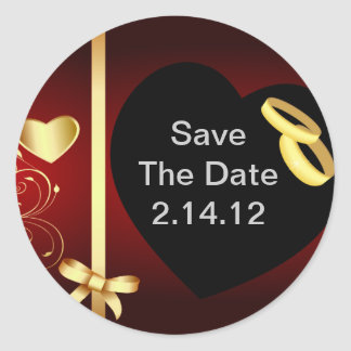 Wedding Hearts Golden Rings Stickers