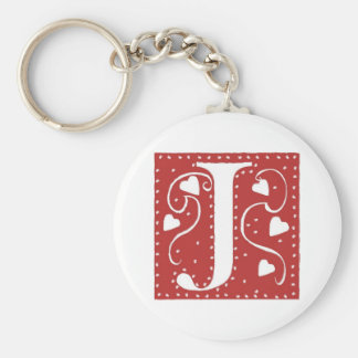 Wedding Hearts Letter J Basic Round Button Key Ring