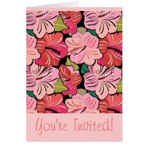 Wedding Hibiscus Party Invitation Greeting Cards